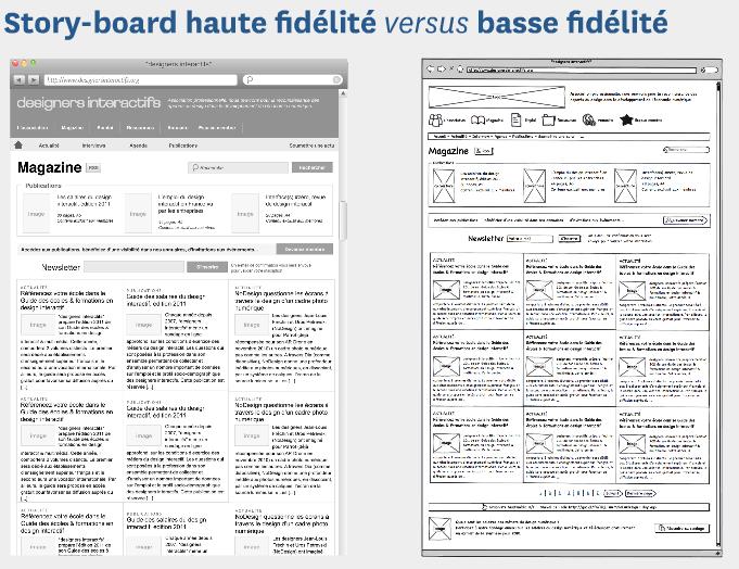 L'architecture de l'information - storyboard haute et basse fidelite